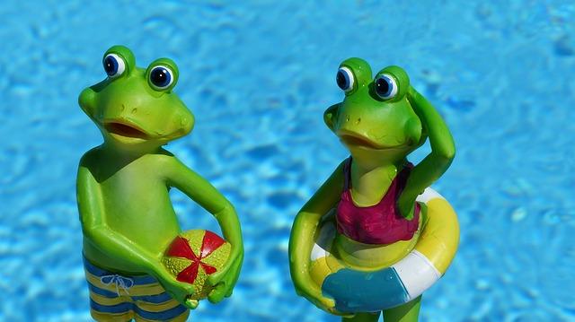 žáby v bazéně